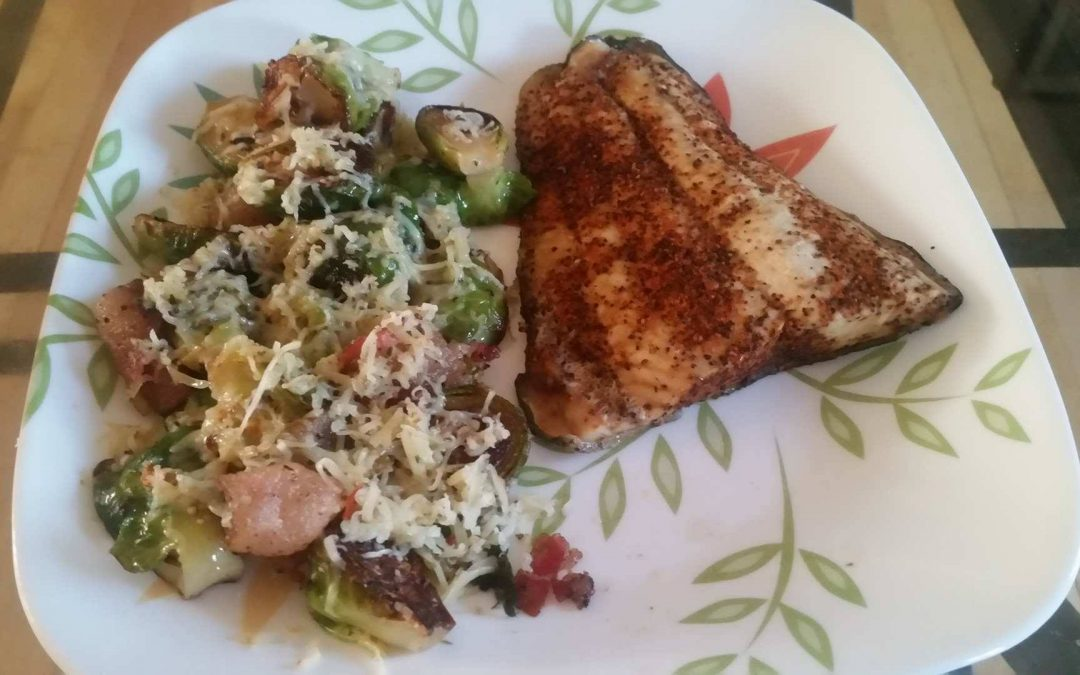 High Performance Dinner – Blackened Salmon & Brussels with Bacon and Gouda