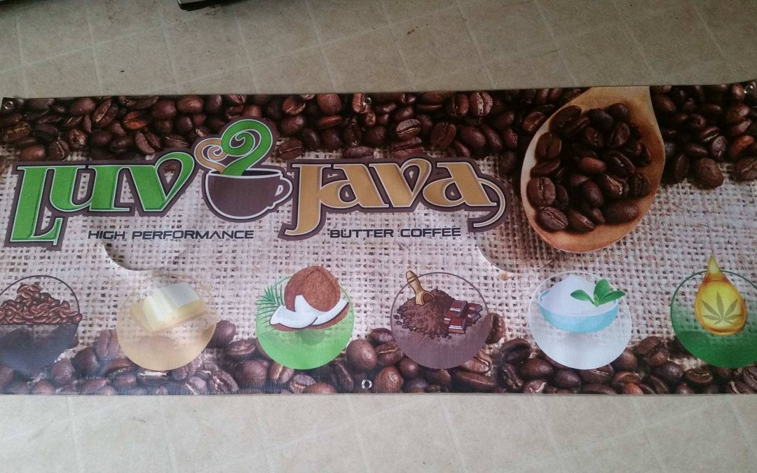 Luv Java Banner Delivered – Headed for Germination Festival May 19-21 Harmony Hill, Maine